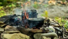 cooking food on a hiking trip