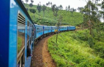 riding a train to Kandy